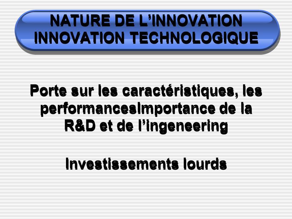 NATURE DE LINNOVATION INNOVATION TECHNOLOGIQUE Porte sur les caractéristiques, les performancesImportance de la R&D et de lingeneering Investissements lourds