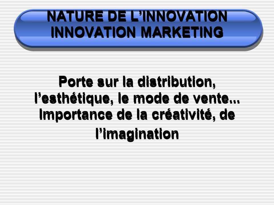 NATURE DE LINNOVATION INNOVATION MARKETING Porte sur la distribution, lesthétique, le mode de vente...