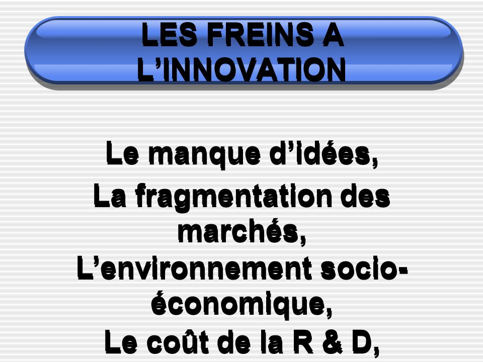 LES FREINS A LINNOVATION Le manque didées, La fragmentation des marchés, Lenvironnement socio- économique, Le coût de la R & D,