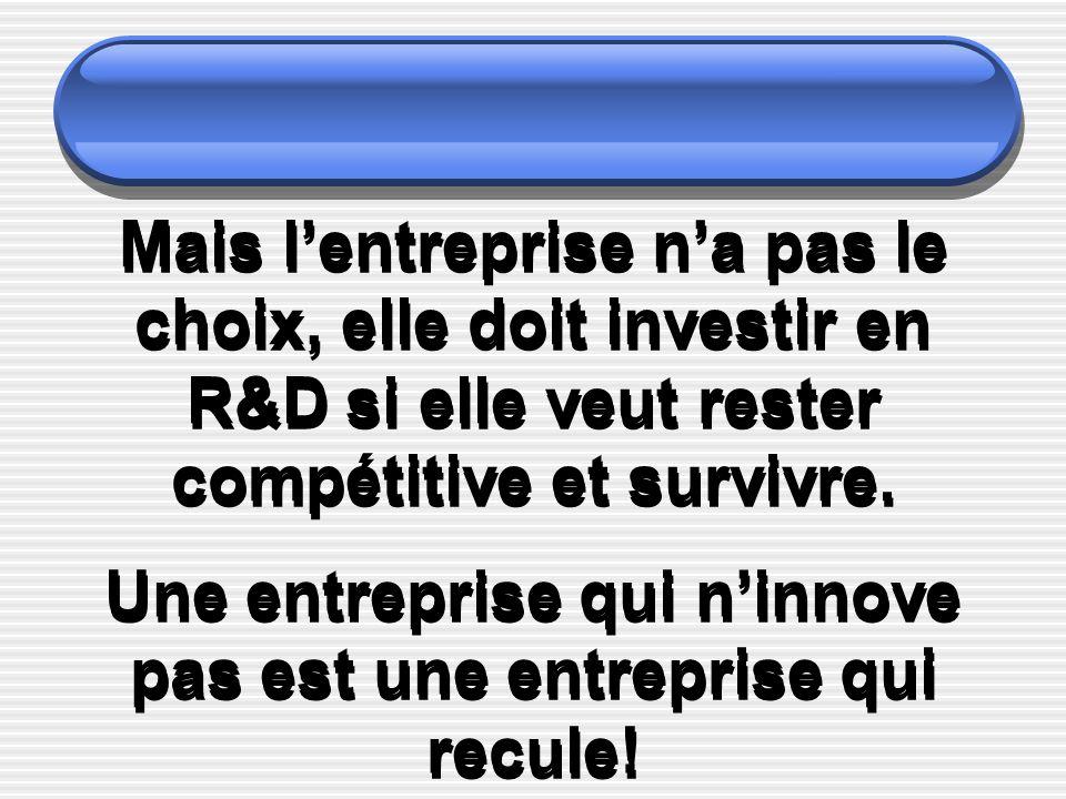 Mais lentreprise na pas le choix, elle doit investir en R&D si elle veut rester compétitive et survivre. Une entreprise qui ninnove pas est une entrep