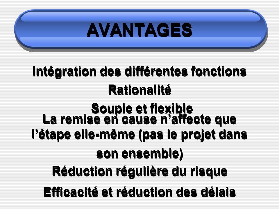 AVANTAGES Intégration des différentes fonctions Rationalité Souple et flexible La remise en cause naffecte que létape elle-même (pas le projet dans so
