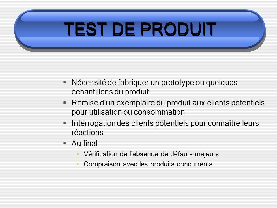TEST DE PRODUIT Nécessité de fabriquer un prototype ou quelques échantillons du produit Remise dun exemplaire du produit aux clients potentiels pour u