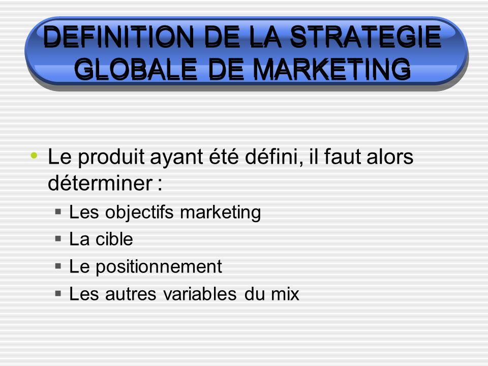 DEFINITION DE LA STRATEGIE GLOBALE DE MARKETING Le produit ayant été défini, il faut alors déterminer : Les objectifs marketing La cible Le positionnement Les autres variables du mix