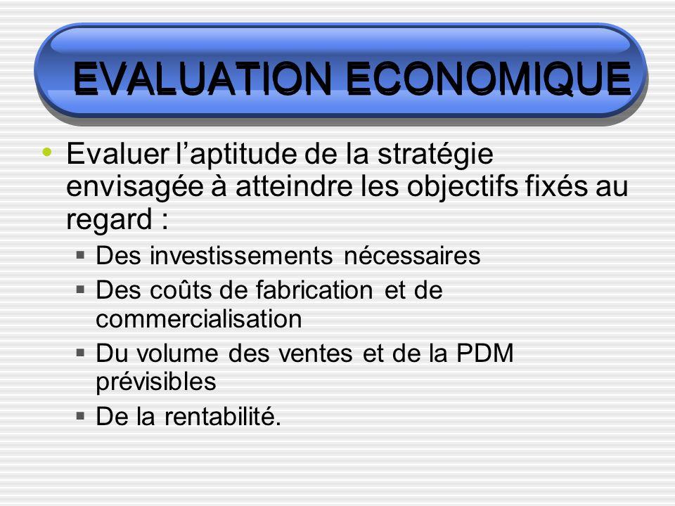 EVALUATION ECONOMIQUE Evaluer laptitude de la stratégie envisagée à atteindre les objectifs fixés au regard : Des investissements nécessaires Des coûts de fabrication et de commercialisation Du volume des ventes et de la PDM prévisibles De la rentabilité.