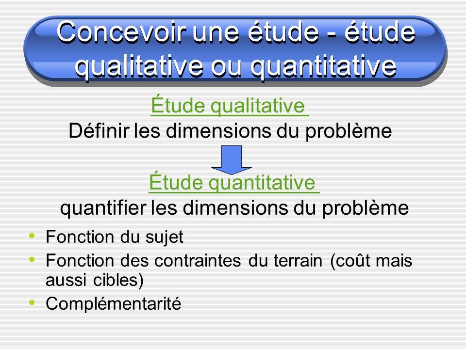 Concevoir une étude - étude qualitative ou quantitative Fonction du sujet Fonction des contraintes du terrain (coût mais aussi cibles) Complémentarité Étude qualitative Définir les dimensions du problème Étude quantitative quantifier les dimensions du problème