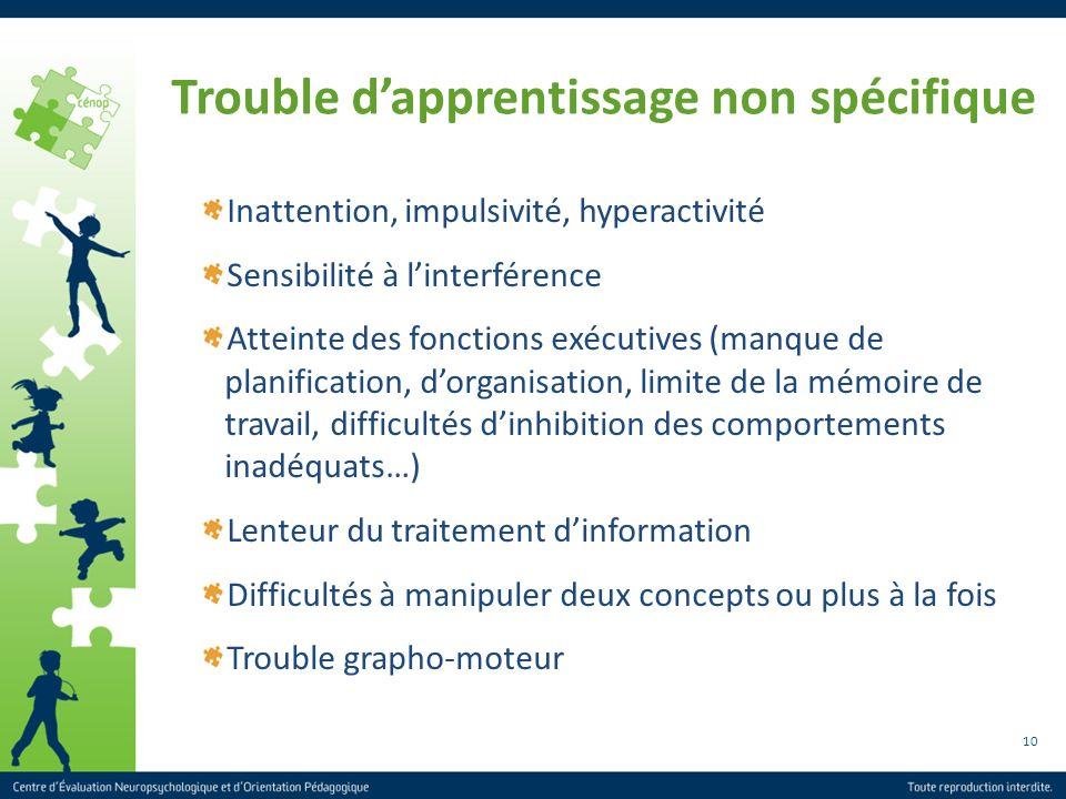 10 Trouble dapprentissage non spécifique Inattention, impulsivité, hyperactivité Sensibilité à linterférence Atteinte des fonctions exécutives (manque