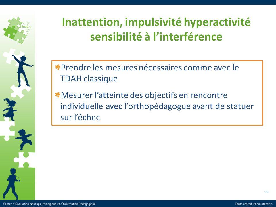 11 Inattention, impulsivité hyperactivité sensibilité à linterférence Prendre les mesures nécessaires comme avec le TDAH classique Mesurer latteinte d