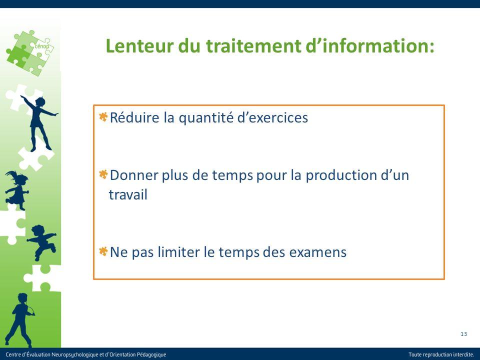13 Lenteur du traitement dinformation: Réduire la quantité dexercices Donner plus de temps pour la production dun travail Ne pas limiter le temps des