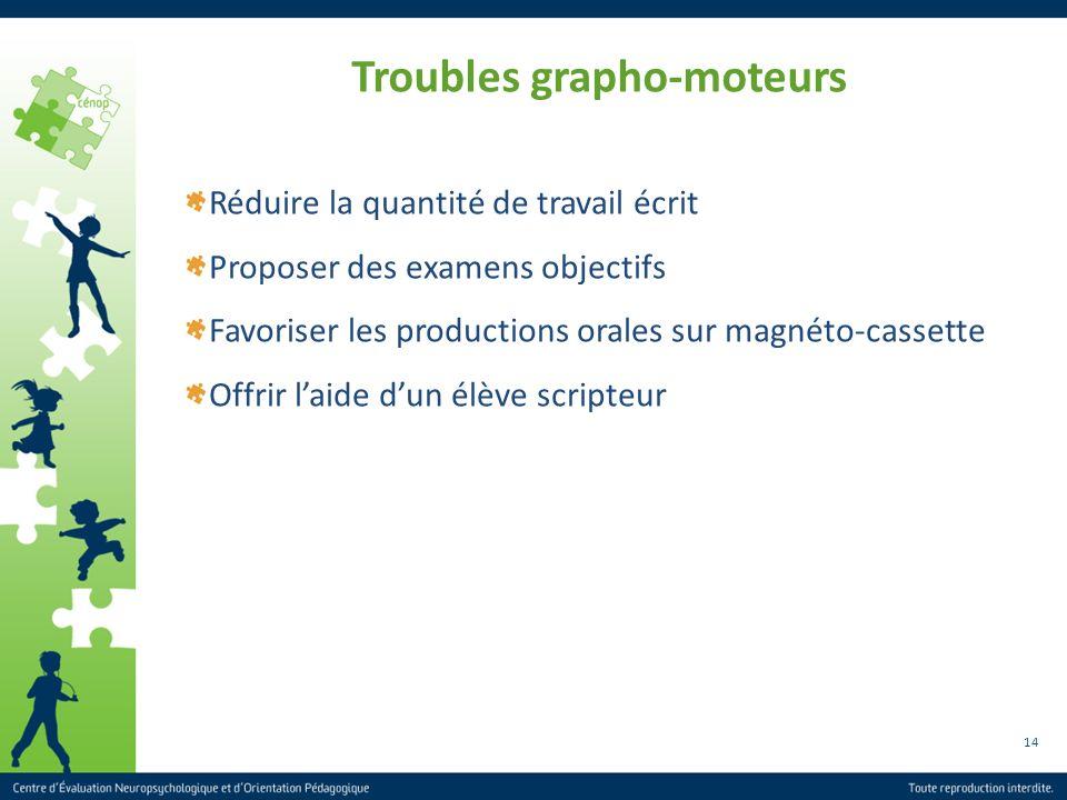 14 Troubles grapho-moteurs Réduire la quantité de travail écrit Proposer des examens objectifs Favoriser les productions orales sur magnéto-cassette O