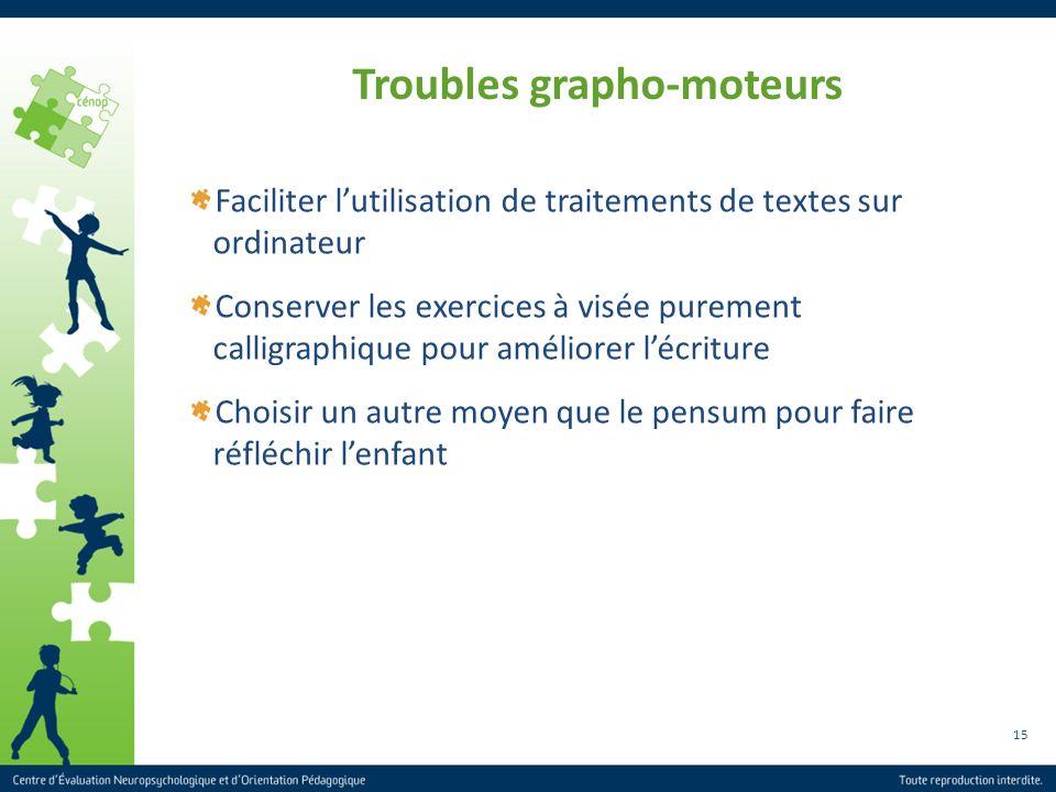 15 Troubles grapho-moteurs Faciliter lutilisation de traitements de textes sur ordinateur Conserver les exercices à visée purement calligraphique pour