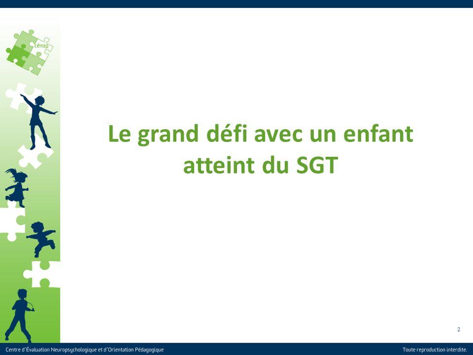 2 Le grand défi avec un enfant atteint du SGT