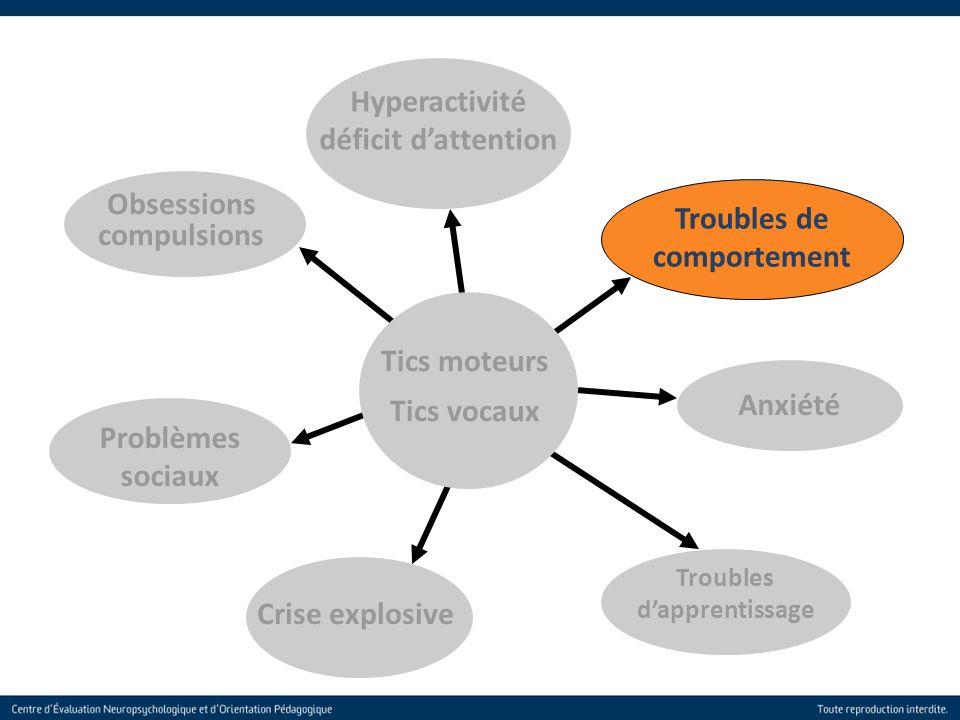 20 Troubles de comportement Obsessions compulsions Anxiété Troubles dapprentissage Crise explosive Problèmes sociaux Hyperactivité déficit dattention