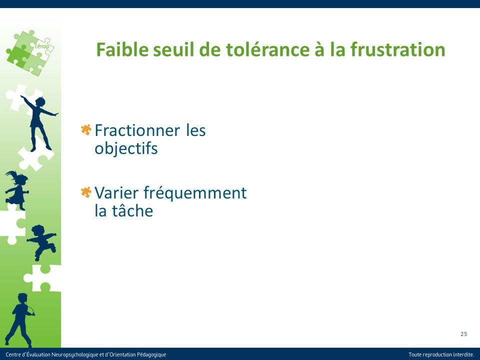 25 Faible seuil de tolérance à la frustration Fractionner les objectifs Varier fréquemment la tâche