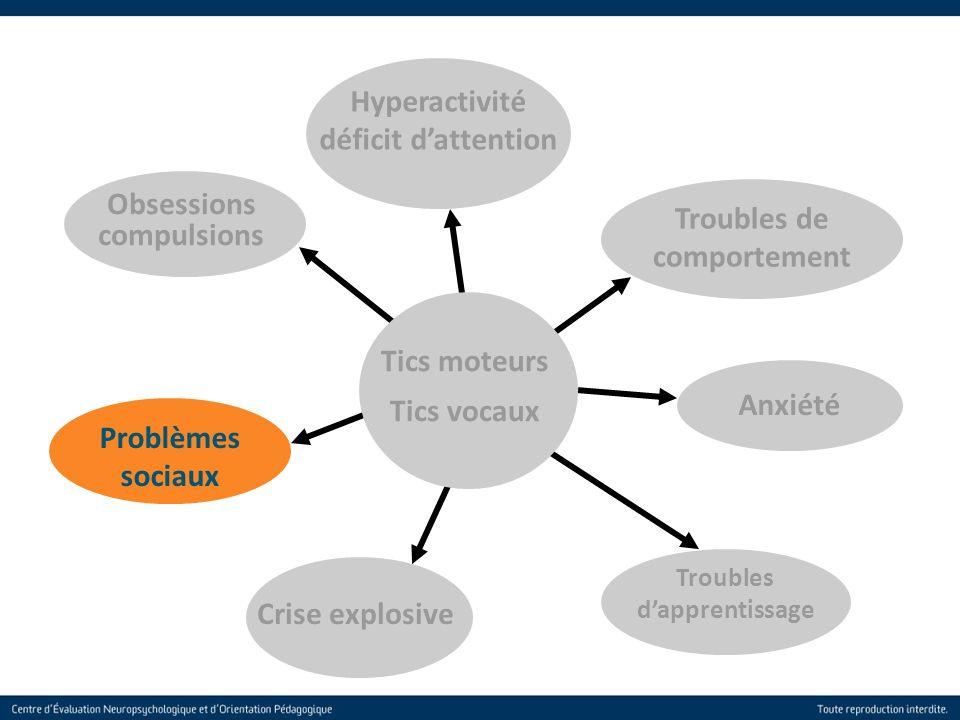 28 Troubles de comportement Obsessions compulsions Anxiété Troubles dapprentissage Crise explosive Problèmes sociaux Hyperactivité déficit dattention