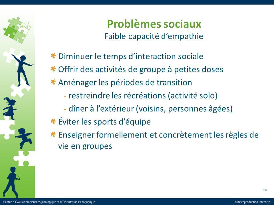 29 Problèmes sociaux Diminuer le temps dinteraction sociale Offrir des activités de groupe à petites doses Aménager les périodes de transition - restr