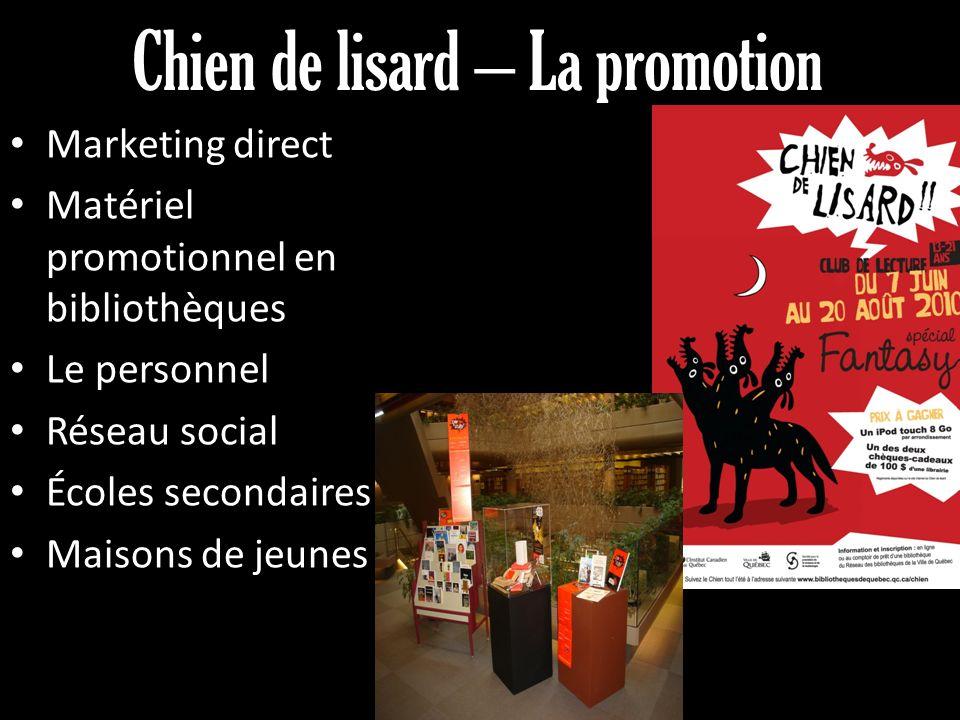 Chien de lisard – La promotion Marketing direct Matériel promotionnel en bibliothèques Le personnel Réseau social Écoles secondaires Maisons de jeunes