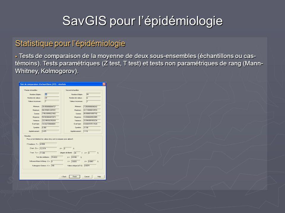 Statistique pour lépidémiologie Tests de comparaison de la moyenne de deux sous-ensembles (échantillons ou cas- témoins).