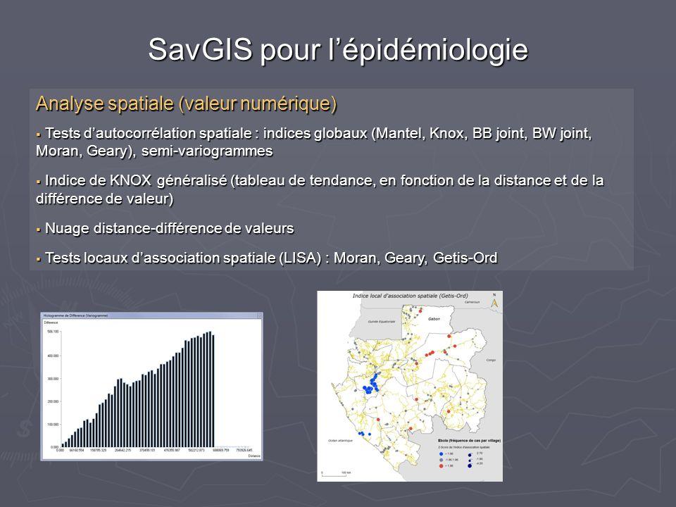 Analyse spatiale (valeur numérique) Tests dautocorrélation spatiale : indices globaux (Mantel, Knox, BB joint, BW joint, Moran, Geary), semi-variogrammes Tests dautocorrélation spatiale : indices globaux (Mantel, Knox, BB joint, BW joint, Moran, Geary), semi-variogrammes Indice de KNOX généralisé (tableau de tendance, en fonction de la distance et de la différence de valeur) Indice de KNOX généralisé (tableau de tendance, en fonction de la distance et de la différence de valeur) Nuage distance-différence de valeurs Nuage distance-différence de valeurs Tests locaux dassociation spatiale (LISA) : Moran, Geary, Getis-Ord Tests locaux dassociation spatiale (LISA) : Moran, Geary, Getis-Ord SavGIS pour lépidémiologie