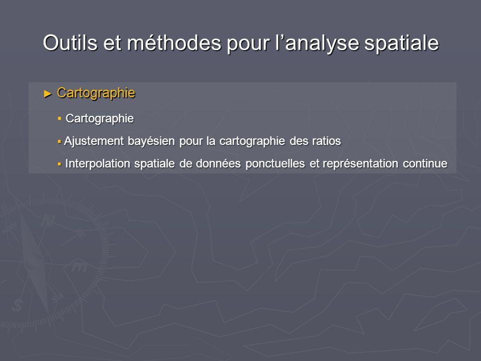 Outils et méthodes pour lanalyse spatiale Cartographie Cartographie Cartographie Ajustement bayésien pour la cartographie des ratios Ajustement bayésien pour la cartographie des ratios Interpolation spatiale de données ponctuelles et représentation continue Interpolation spatiale de données ponctuelles et représentation continue
