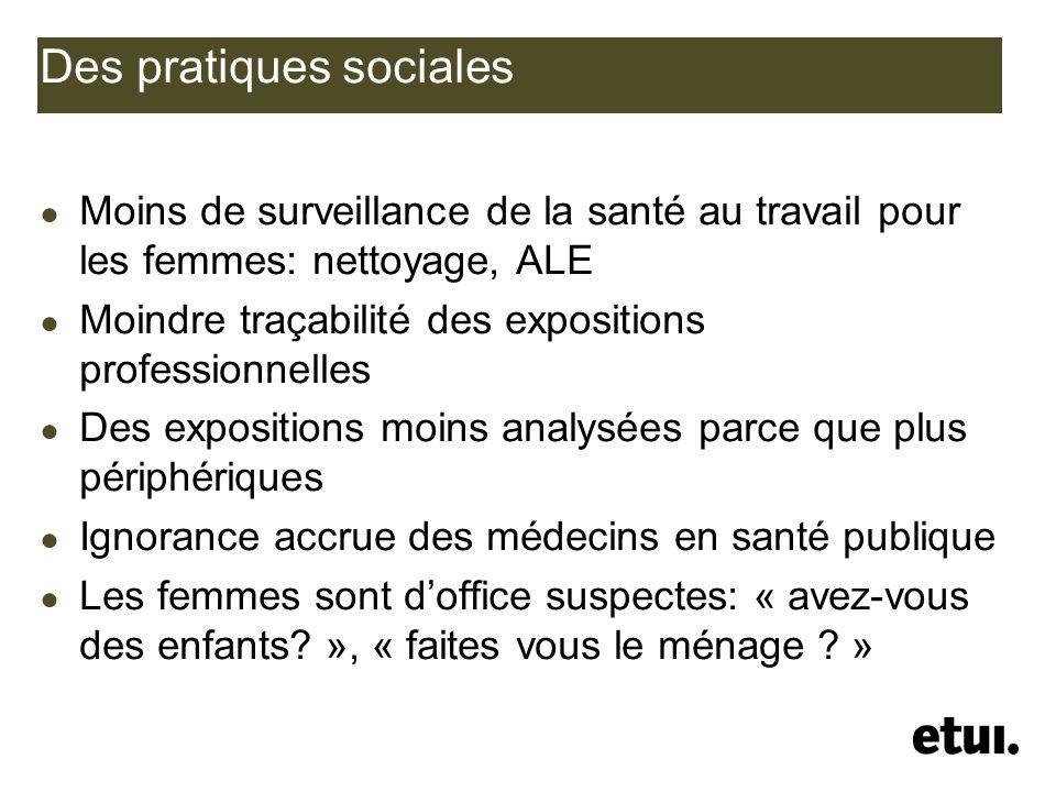 Des pratiques sociales Moins de surveillance de la santé au travail pour les femmes: nettoyage, ALE Moindre traçabilité des expositions professionnell