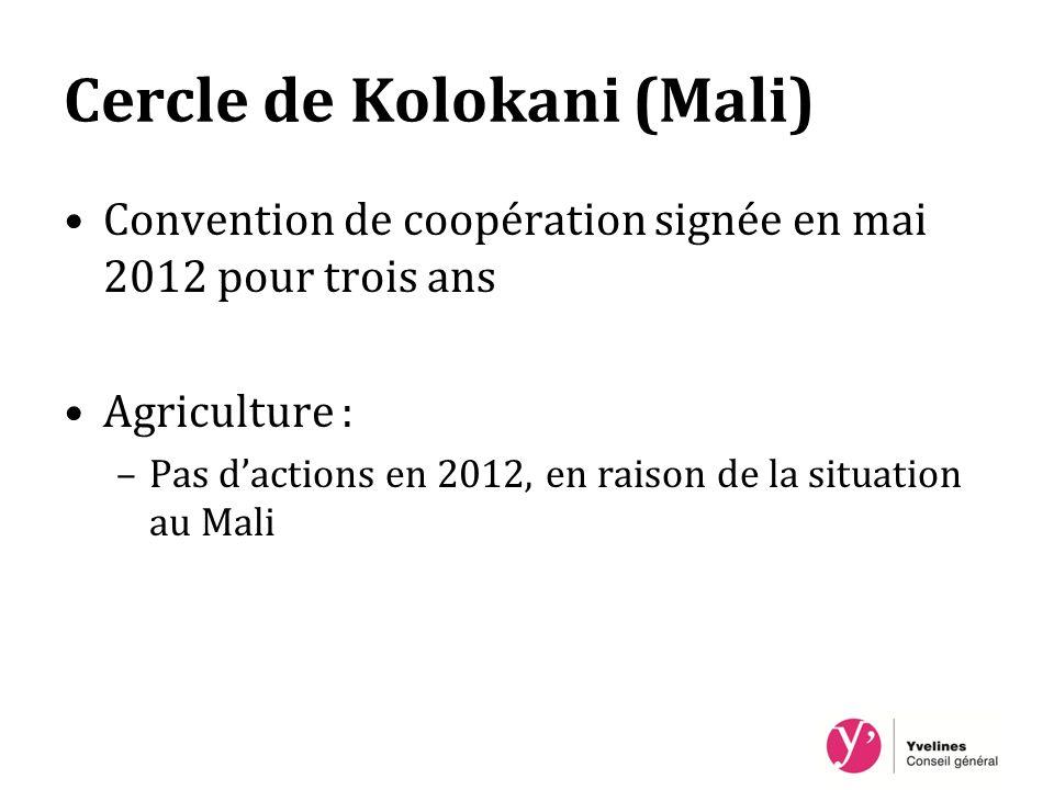 Cercle de Kolokani (Mali) Convention de coopération signée en mai 2012 pour trois ans Agriculture : –Pas dactions en 2012, en raison de la situation au Mali