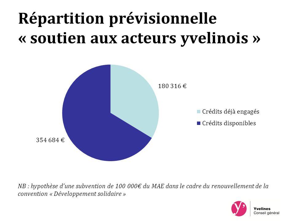 Répartition prévisionnelle « soutien aux acteurs yvelinois » NB : hypothèse dune subvention de 100 000 du MAE dans le cadre du renouvellement de la convention « Développement solidaire »