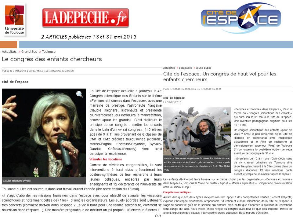 2 ARTICLES publiés les 13 et 31 mai 2013