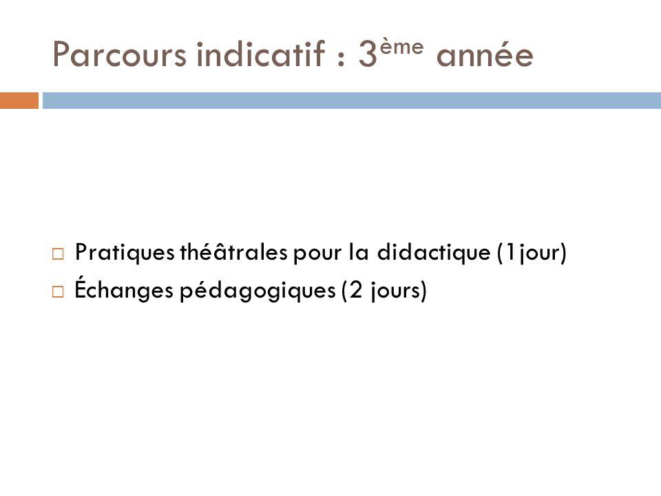 Parcours indicatif : 3 ème année Pratiques théâtrales pour la didactique (1jour) Échanges pédagogiques (2 jours)