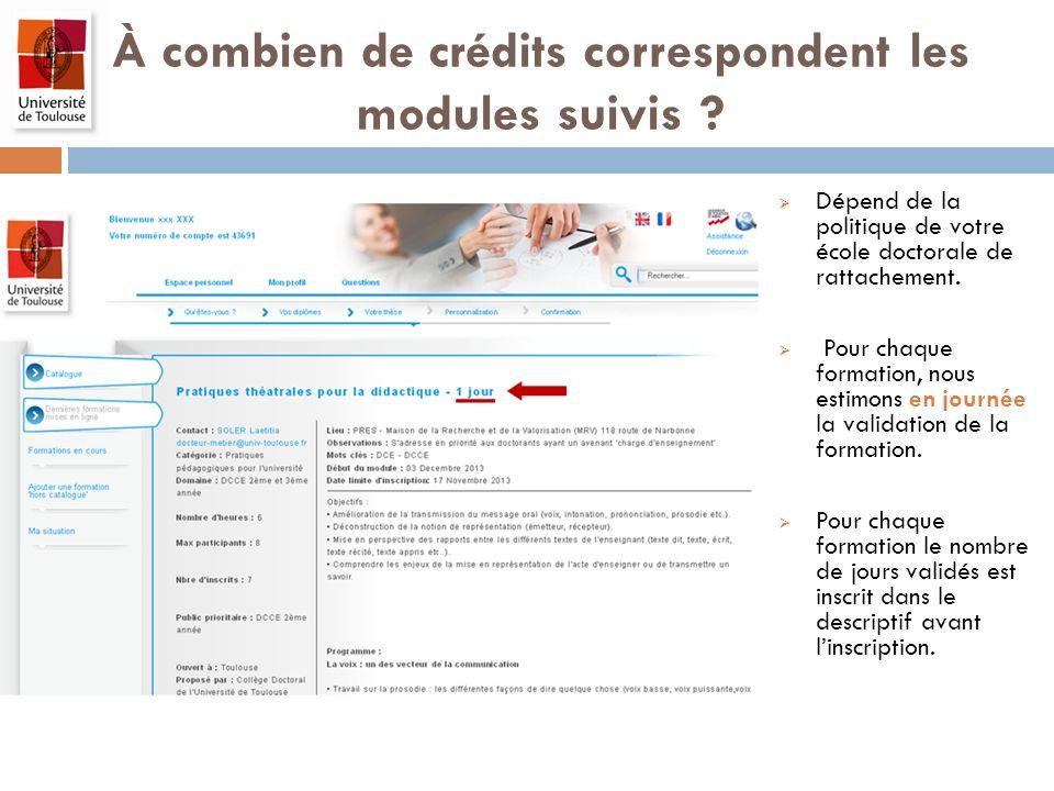 À combien de crédits correspondent les modules suivis ? Dépend de la politique de votre école doctorale de rattachement. Pour chaque formation, nous e