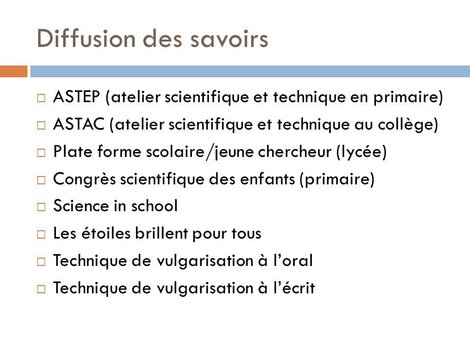 Diffusion des savoirs ASTEP (atelier scientifique et technique en primaire) ASTAC (atelier scientifique et technique au collège) Plate forme scolaire/