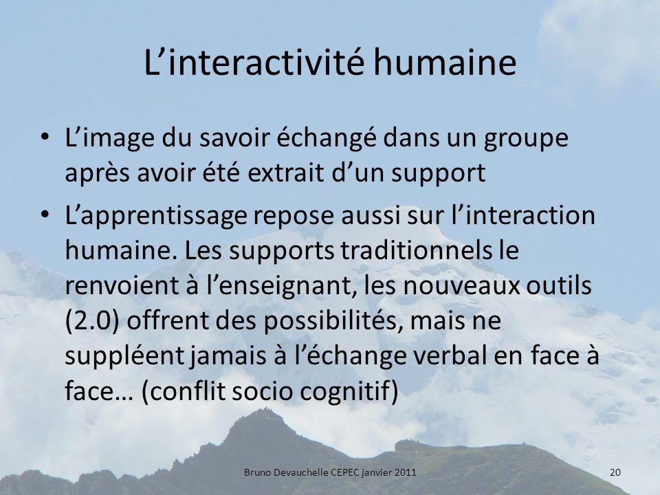 Linteractivité humaine Limage du savoir échangé dans un groupe après avoir été extrait dun support Lapprentissage repose aussi sur linteraction humaine.