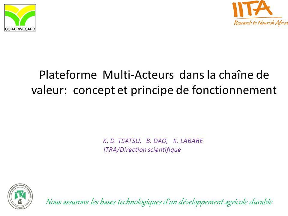 Plateforme Multi-Acteurs dans la chaîne de valeur: concept et principe de fonctionnement K. D. TSATSU, B. DAO, K. LABARE ITRA/Direction scientifique N