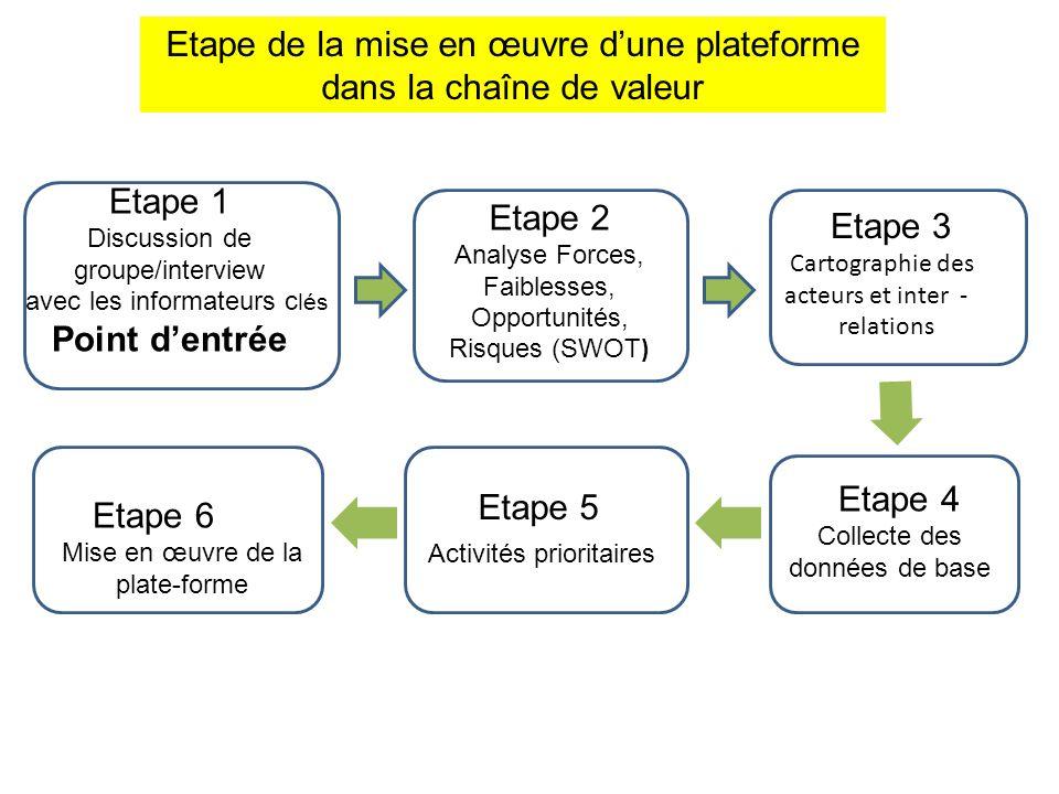 Etape de la mise en œuvre dune plateforme dans la chaîne de valeur Etape 2 Analyse Forces, Faiblesses, Opportunités, Risques (SWOT Etape 1 Discussion
