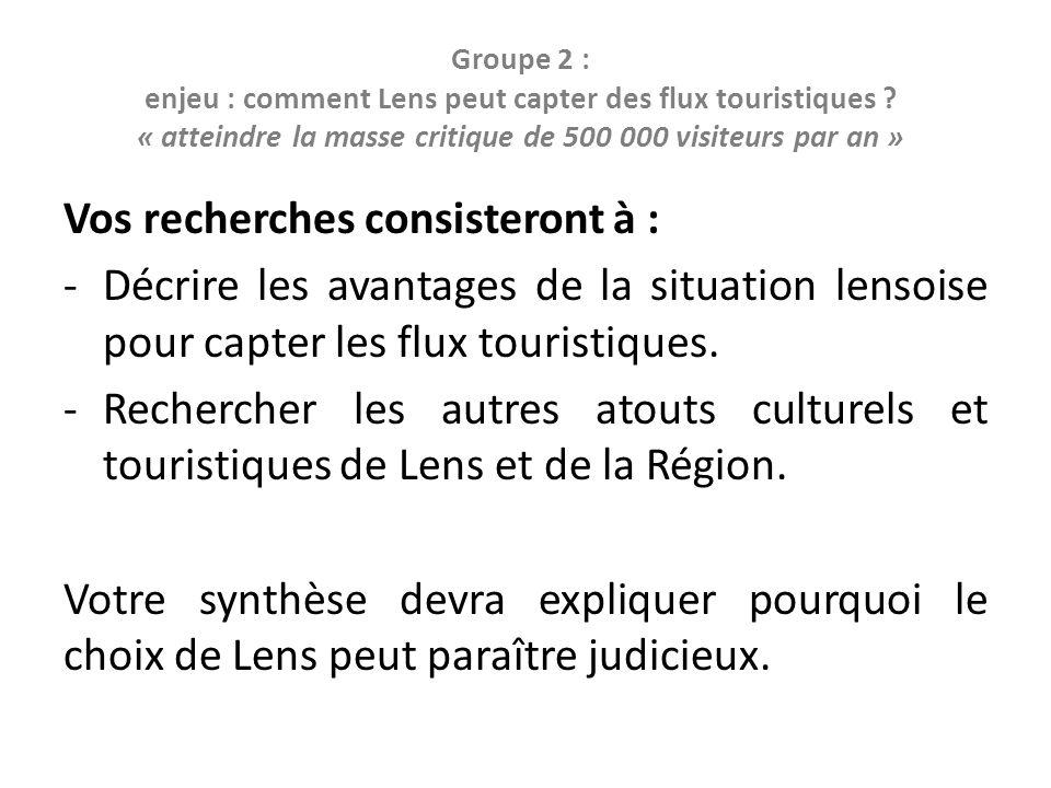 Groupe 2 : enjeu : comment Lens peut capter des flux touristiques .