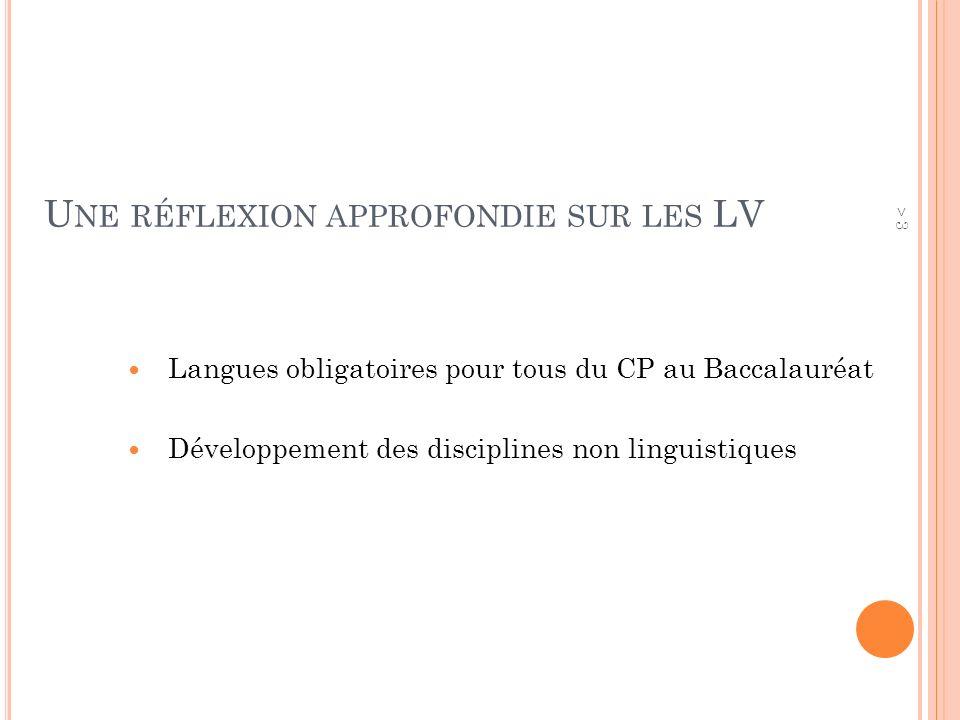 U NE RÉFLEXION APPROFONDIE SUR LES LV Langues obligatoires pour tous du CP au Baccalauréat Développement des disciplines non linguistiques > 3