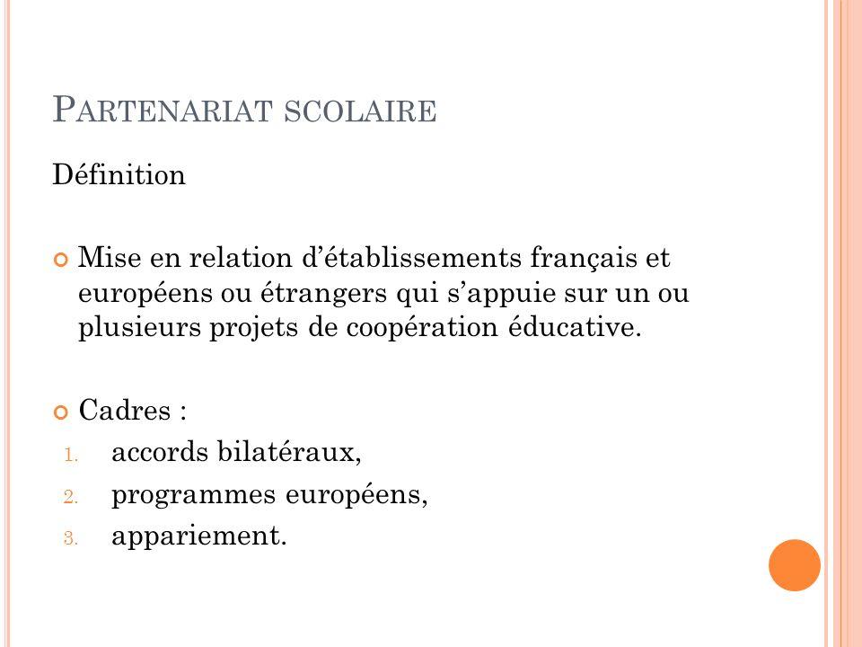 Définition Mise en relation détablissements français et européens ou étrangers qui sappuie sur un ou plusieurs projets de coopération éducative.