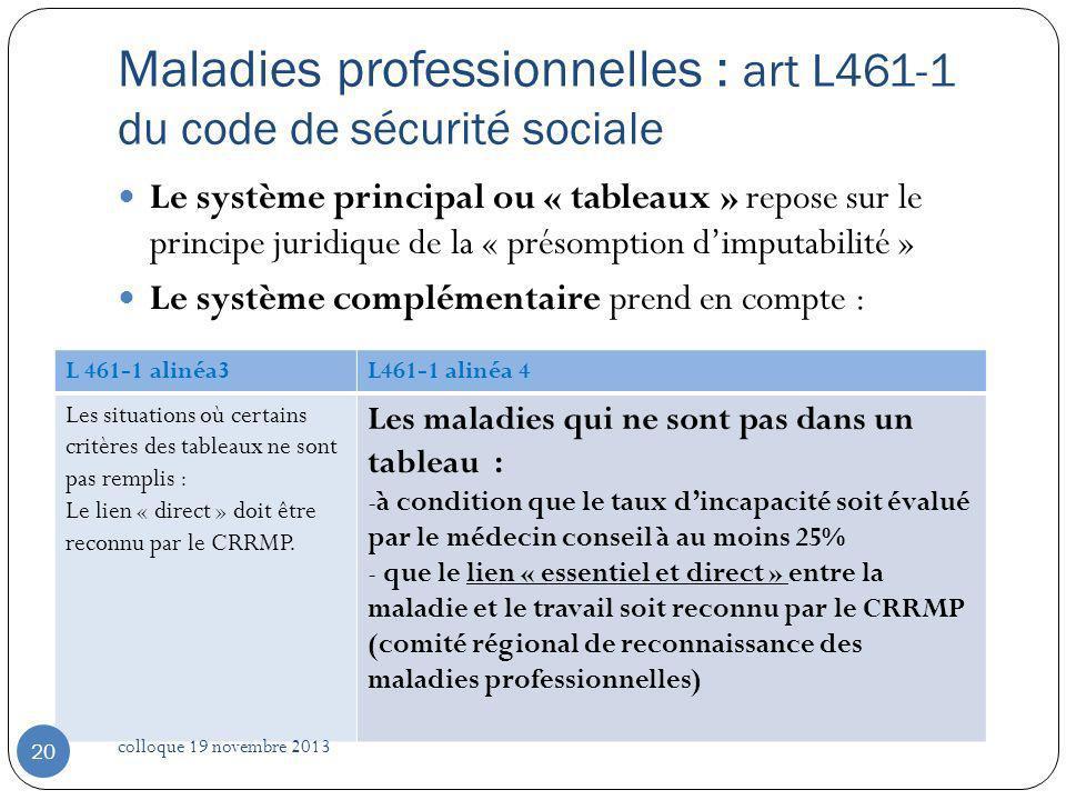 Maladies professionnelles : art L461-1 du code de sécurité sociale Le système principal ou « tableaux » repose sur le principe juridique de la « préso