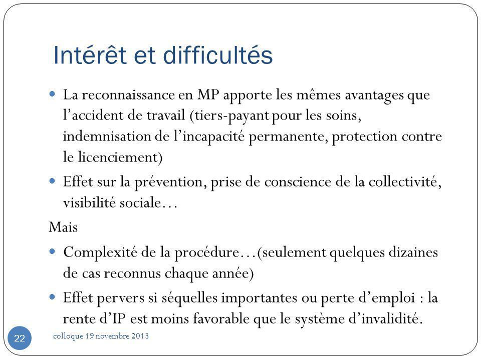 Intérêt et difficultés La reconnaissance en MP apporte les mêmes avantages que laccident de travail (tiers-payant pour les soins, indemnisation de lin