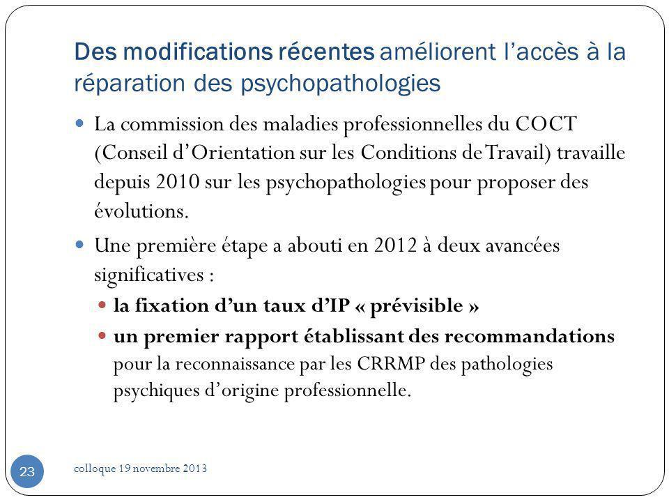 La commission des maladies professionnelles du COCT (Conseil dOrientation sur les Conditions de Travail) travaille depuis 2010 sur les psychopathologi