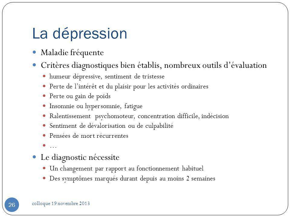 La dépression Maladie fréquente Critères diagnostiques bien établis, nombreux outils dévaluation humeur dépressive, sentiment de tristesse Perte de li