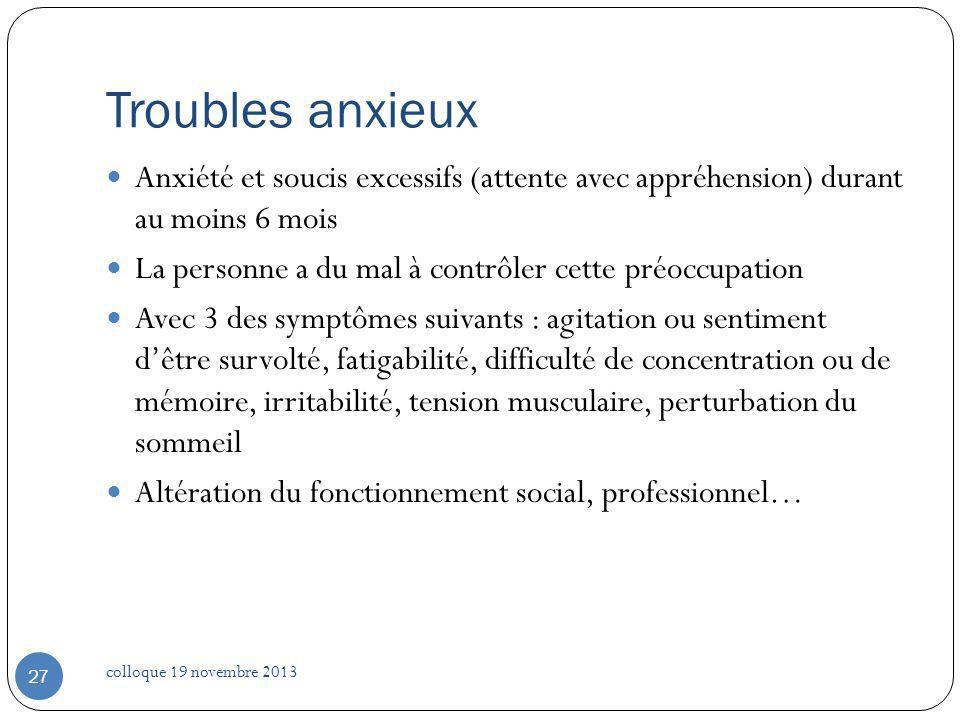 Troubles anxieux Anxiété et soucis excessifs (attente avec appréhension) durant au moins 6 mois La personne a du mal à contrôler cette préoccupation A