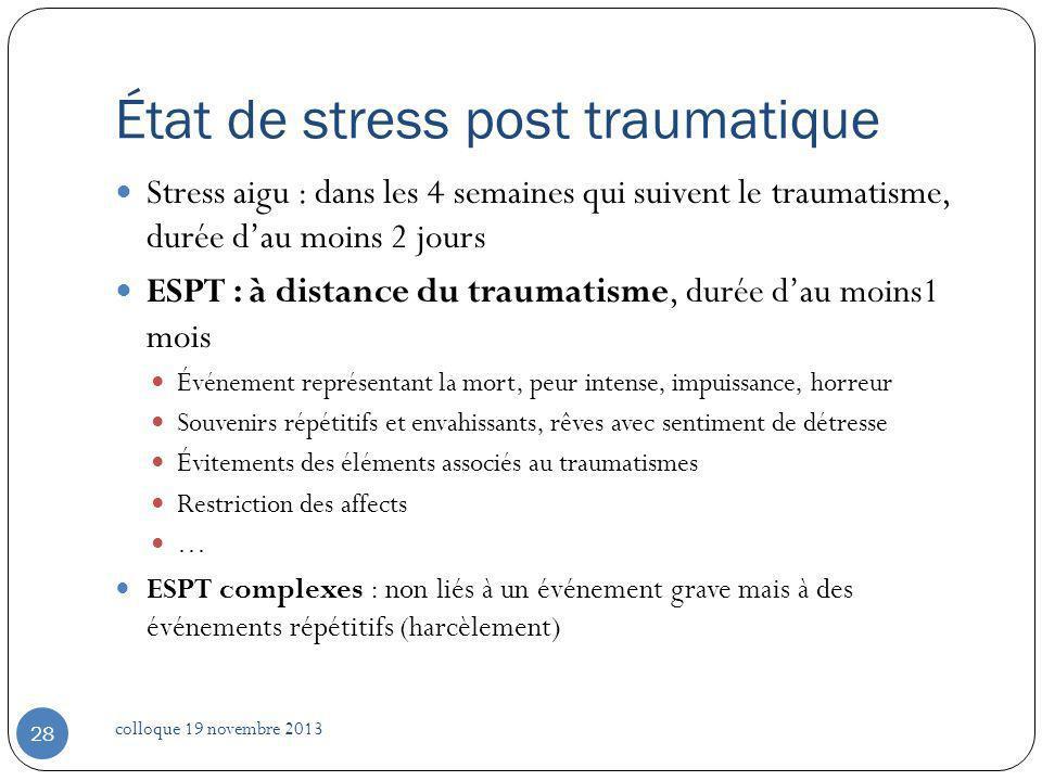 État de stress post traumatique Stress aigu : dans les 4 semaines qui suivent le traumatisme, durée dau moins 2 jours ESPT : à distance du traumatisme