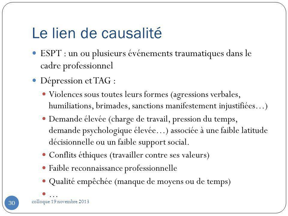 Le lien de causalité ESPT : un ou plusieurs événements traumatiques dans le cadre professionnel Dépression et TAG : Violences sous toutes leurs formes