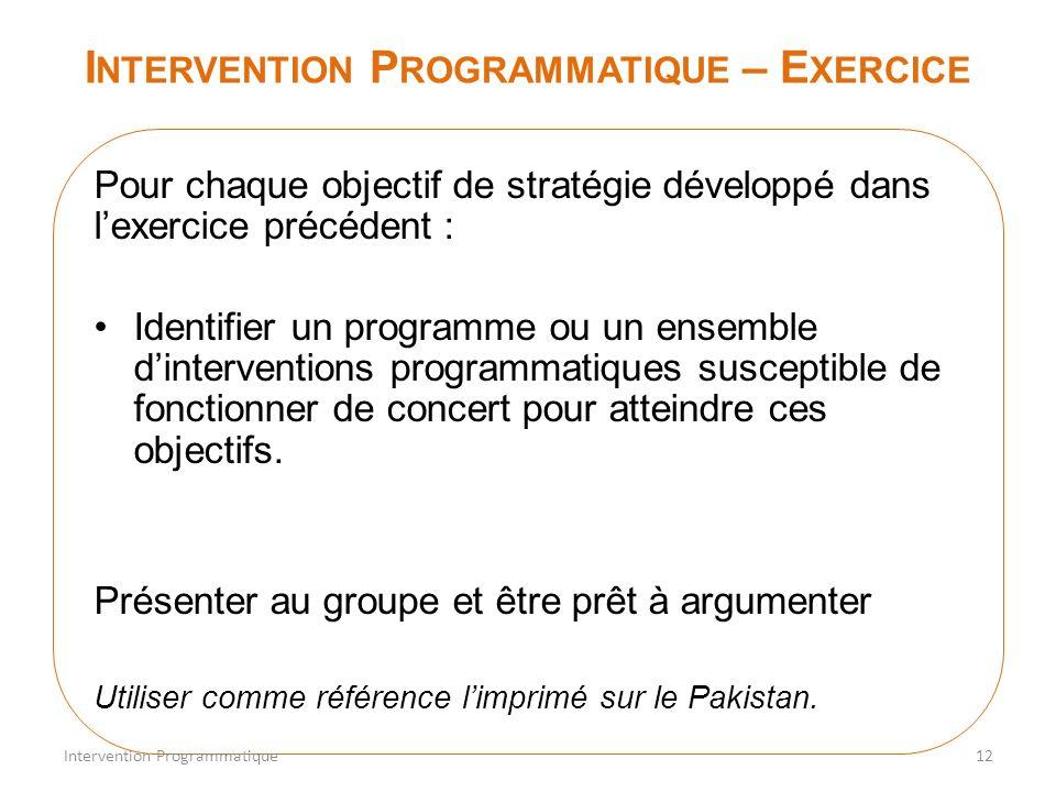 I NTERVENTION P ROGRAMMATIQUE – E XERCICE Pour chaque objectif de stratégie développé dans lexercice précédent : Identifier un programme ou un ensembl