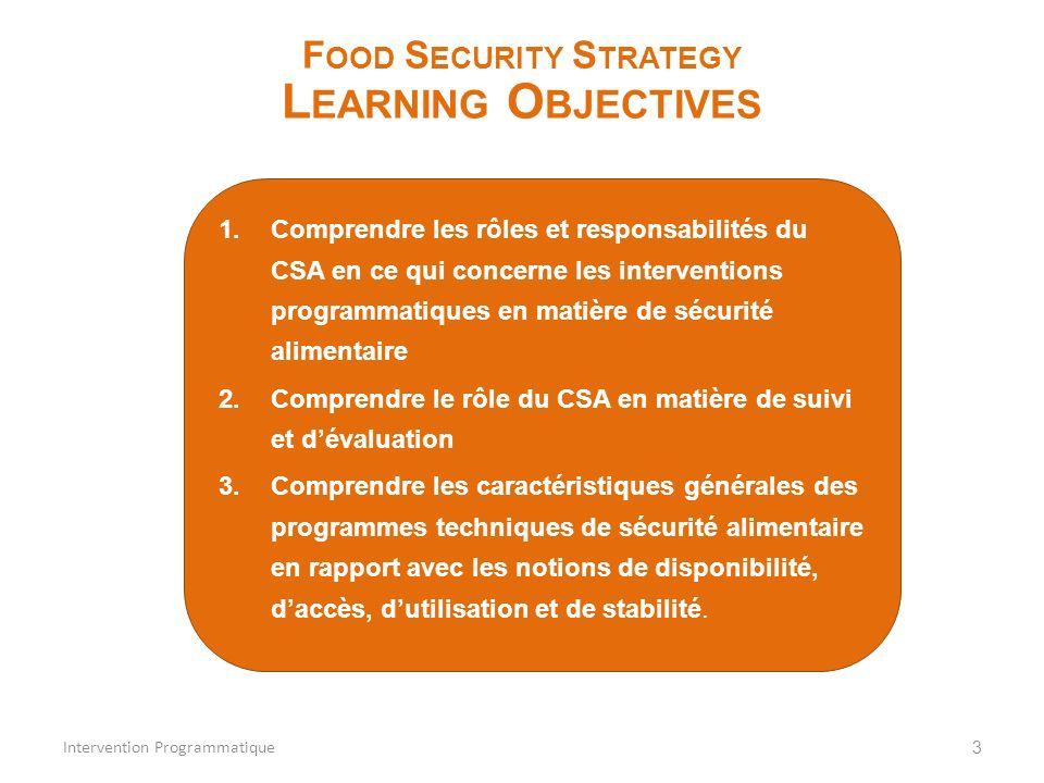 1.Comprendre les rôles et responsabilités du CSA en ce qui concerne les interventions programmatiques en matière de sécurité alimentaire 2.Comprendre