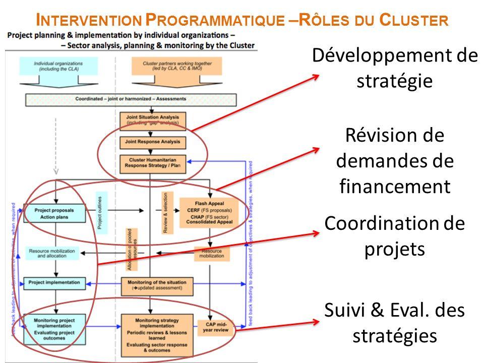 Programmatic Response I NTERVENTION P ROGRAMMATIQUE –R ÔLES DU C LUSTER Développement de stratégie Révision de demandes de financement Coordination de projets Suivi & Eval.