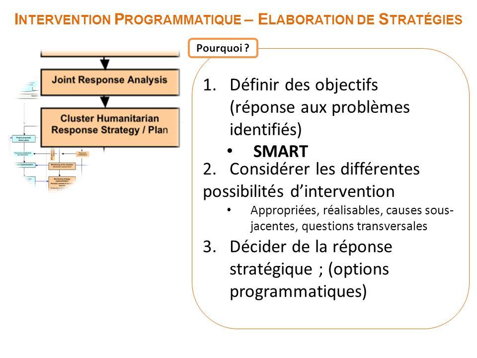 I NTERVENTION P ROGRAMMATIQUE – E LABORATION DE S TRATÉGIES 1.Définir des objectifs (réponse aux problèmes identifiés) SMART 2. Considérer les différe