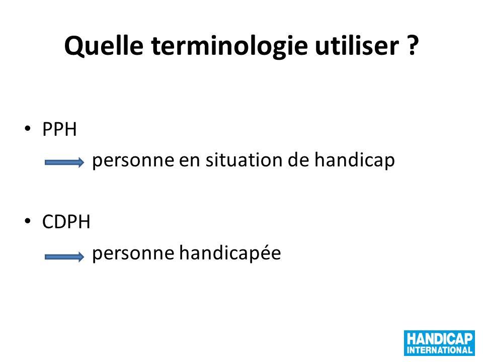 Quelle terminologie utiliser ? PPH personne en situation de handicap CDPH personne handicapée
