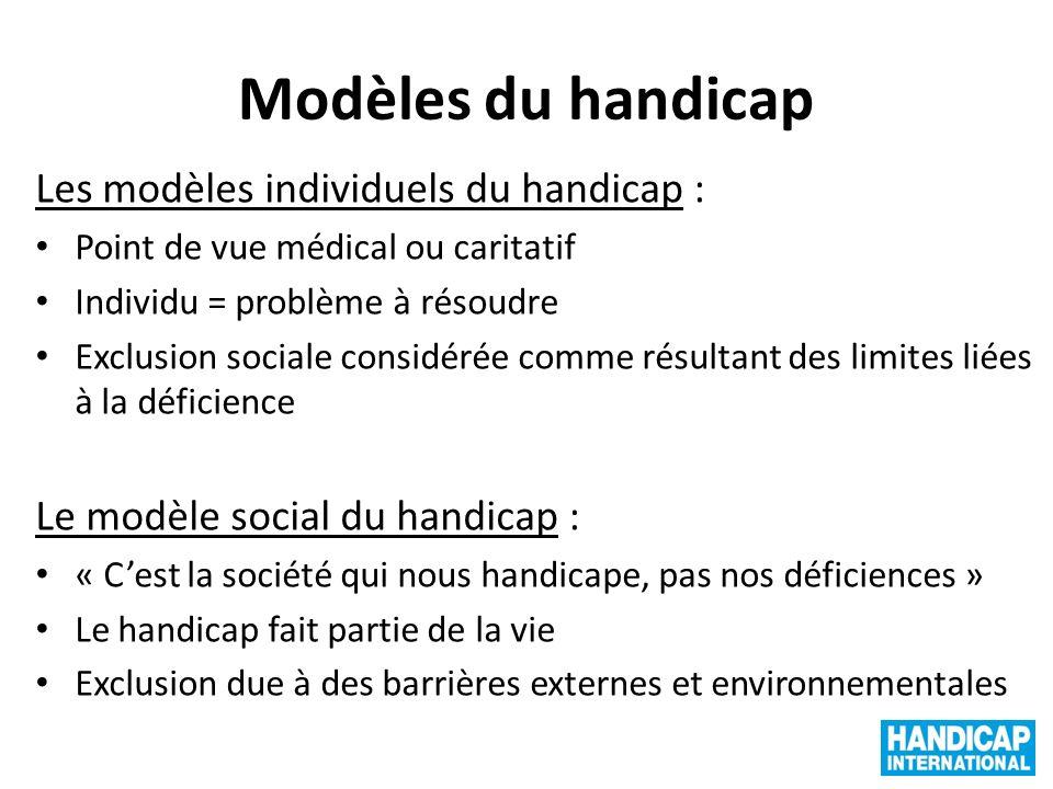 Modèles du handicap Les modèles individuels du handicap : Point de vue médical ou caritatif Individu = problème à résoudre Exclusion sociale considéré