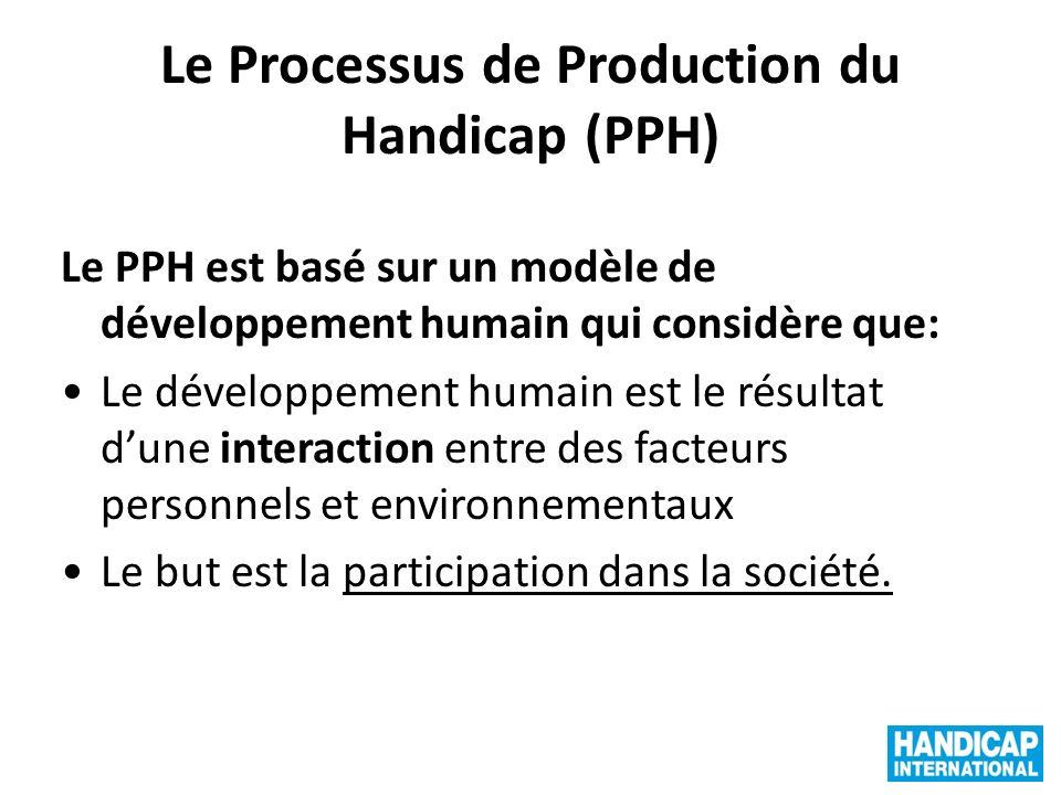 Le Processus de Production du Handicap (PPH) Le PPH est basé sur un modèle de développement humain qui considère que: Le développement humain est le résultat dune interaction entre des facteurs personnels et environnementaux Le but est la participation dans la société.
